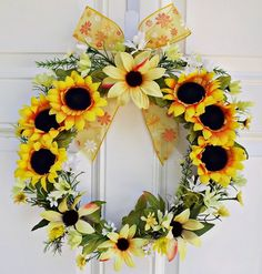 Wreath   Sunflower Wreath  Door Wreath  by JuliesHomeCreations, $39.00