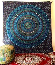 LARGE indian mandala tapestry wall hanging bedspread hippie bohemian bedding #Handmade #Mandala