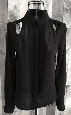 Nanette Lepore Lamour Top Blouse Black Cutouts Long Sleeve Semi Sheer Size XS #NanetteLepore #Blouse
