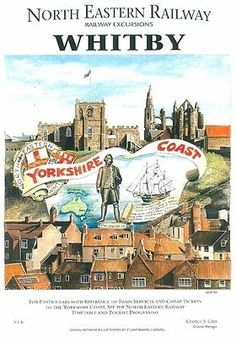 Whitby, North #Yorkshire #Railway Poster, #England.
