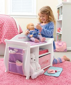 American Girl® Changing Table/Storage Unit for 15 Bitty Baby Doll | zulily  sc 1 st  Pinterest & Girls Pretend Play Doll Nursery Center Baby Set - Cradle Swing Bath ...