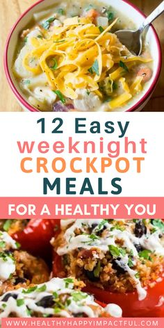 12 weeknight crockpot meals for a healthy you! Easy options to set it and forget it! Healthy dinners all week for families and pleasing meals for kids. Some budget-friendly, chicken, and beef ideas as well. Healthy Family Meals, Easy Healthy Dinners, Healthy Dinner Recipes, Health Recipes, Crockpot Dinner Easy, Heart Healthy Crockpot Recipes, Easy Dinner Meals, Easy Dinners For Kids, Quick Crockpot Meals