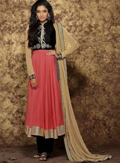 #Peach and #Black #PantStyle #Anarkali features embroidered top with cotton bottom and pure chiffon dupatta.