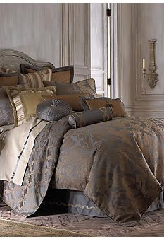 Waterford's Walton is a luxurious combination of sophisticated color and texture. The contemporary damask design is woven with tonal bronze yarns on a charcoal sateen ground and outlined with a touch of gold. Coordinate fabrics include an acanthus ogee design, a sculpted bronze woven and a detailed stripe. Pleated detailing on the Euro shams and a pieced decorative pillow, an embroidered bedskirt and neckroll, plus braided trim and decorative accents provide an extra custom look.