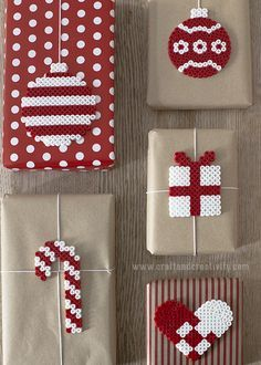 Christmas gift wrap inspiration! Make your own DIY beaded Christmas gift tags for your holiday packages!