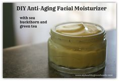 DIY- Anti-Aging Daily Facial Moisturizer with Sea Buckthorn, Mango Butter, Vit E Oil, Neroli Essential Oil, Pure Beeswax, Pure Aloe Vera Gel, Witch Hazel  and Green Tea. I haven't tried this but it looks interesting and I like that it is all-natural.