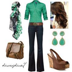Green and brown outfit. Perfect for lunch or dinner with friends. Blonde hair will work too.