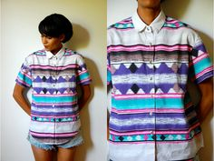 Vtg Neon Pastel Tribal Printed Button Down SS Shirt by LuluTresors, $22.99