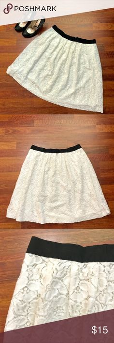 "PLUS • Loft White Cotton Lace Skirt • 14 NWOT • Excellent condition. This is not a scratchy lace but a soft cottony lace perfect for all seasons. Grosgrain ribbon waistband with half zip back. Lined in white cotton slip (see pic). Waist 34"" (does not stretch) - Length 23"". Bundle two or more items to receive a25% discount. Thank you! LOFT Skirts Midi"