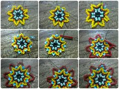 Mandala parte 2 Beading Projects, Beading Tutorials, Beading Patterns, Seed Bead Earrings, Beaded Earrings, Seed Beads, Diy Jewelry, Beaded Jewelry, Beading Techniques