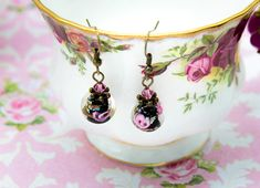 Artisan Lampwork Earrings by Libbis Designs - Black, Rose Pink, Antique Bronze - Handmade - Unique - Shabby Chic - Gift for Her - Dainty