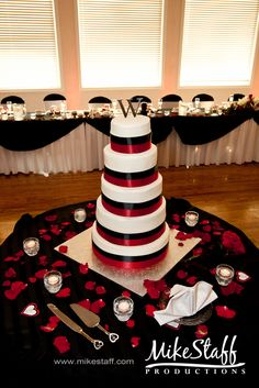 #wedding cake #wedding cake topper #tiered cake #Michigan wedding #Mike Staff Productions #wedding details #wedding photography http://www.mikestaff.com/services/photography #red #black #white