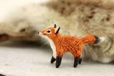 Red Fox Totem Figurine Sculpture Animal magic by DemiurgusDreams
