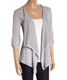 Bleev Gray Stripe Drape Cardigan | zulily