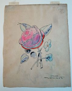 #Design Sketch of #Flower by Maurice Marinot   Corning Museum of #Glass