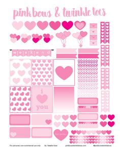 FREE Printable Valentine's Day Planner Stickers: Pinkbow &Twinkle toes