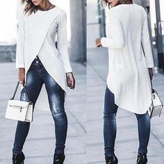 Womens tops and blouses 2019 Fashion Women Ladies Casual Long Sleeve Forking Irregular Tops Blouse Pullover Shirt womens clothes Jeans Slim, Women Sleeve, Shirt Sale, Long Sleeve Tops, Casual Outfits, Clothes For Women, Womens Fashion, Sleeves, How To Wear