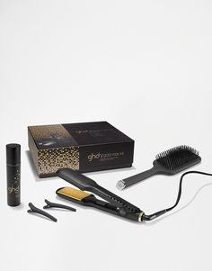 Gold Series Max Kit by ghd Gold V Max styler Smooth wide plates Leaves hair glossy and straight Doesn't pull or tug at the hair Creates waves and straight styles Paddle hairbrush Sectioning clips Heat protectant spray Two year warranty