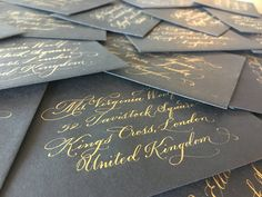 The Ginger Pen Lettering Studio - hand lettering, calligraphy, modern calligraphy, gold ink Brush Lettering, Hand Lettering, Gold Ink, Addressing Envelopes, Modern Calligraphy, Note Cards, Gift Tags, Studio, Projects