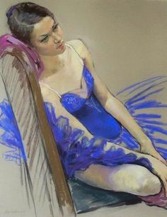 Artist: Katya Gridneva {figurative female human body décolletage woman ballerina drawing}