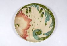 French Antique Asparagus Plate in Majolica by Vintagefrenchlinens