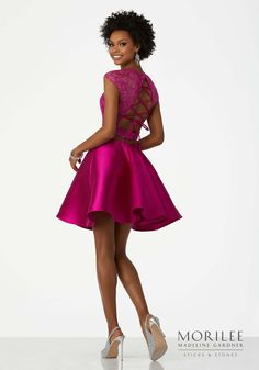 Pink Two Piece Party Dress Featuring an Embroidered Net Bodice and Larissa A-Line Satin Skirt. Short Illusion Cap Sleeves. Colors Available: Black, Fuchsia, Hunter Green. Short Homecoming Cocktail Dress by Morilee | Madeline Gardner. Style 33009.