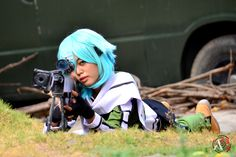 Her name is Rei. She is a costume maker and cosplayer as well. She made this costume herself. Fanlovy Rei as Sinon GGO.