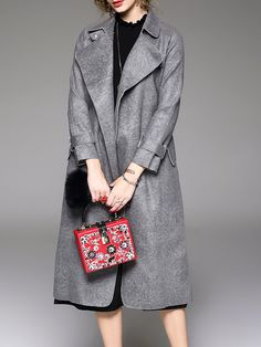 Shop Trench Coats - Gray Simple H-line Lapel Trench Coat online. Discover unique designers fashion at StyleWe.com.
