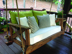 56 DIY Porch Swing Plans [Free Blueprints With a repurposed crib mattress for our cushion, we are enjoying our new swing! Farmhouse Porch Swings, Rustic Porch Swings, Front Porch Swings, Hanging Porch Bed, Outdoor Patio Swing, Porch Bench, Backyard Hammock, Modern Outdoor Chairs, Patio Decks