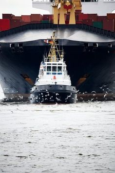 How to Get Big by staying Small    A Small Tugboat Pushes a Large Freighter  www.netkaup.is