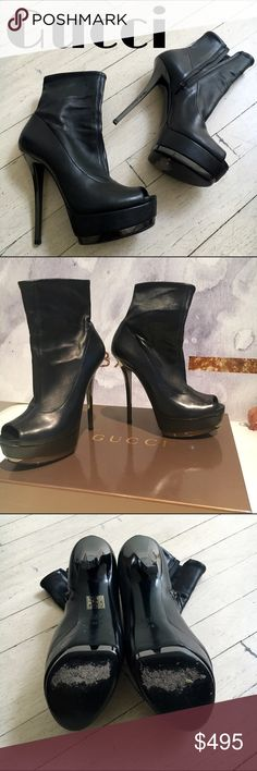 """Gucci Nappa Stretch Nero Boots I'm selling this on behalf of my sister in law, an extreme fashionista and mother of two! These are 100% authentic Gucci Napa Stretch Nero boots. Made in Italy, come with box and dustbag. 6"""" heel height. These have been worn 1x and come from a pet-free, smoke-free home. Gucci Shoes Heeled Boots"""