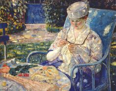 Sewing in the Garden, Frederick Frieseke.