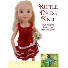 Ruffle Dress Knitting pattern for BFC Ink doll