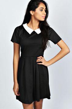 Contrast Collar Skater Dress - black