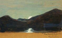 Moonlight - Hugo Simberg , 1899 Finnish, Gouache, x cm Gouache, Outsider Art, Finland, Moonlight, Mystic, Sunrise, Folk, Pictures, Landscapes