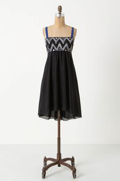 """With a flouncy chiffon skirt and a barely-there cutout back, LeifNotes' embroidered frock is ultimately airy.  - Side pockets - Adjustable straps - Back zip - Cotton, silk; polyester lining - Dry clean - 36.5""""L - Imported"""