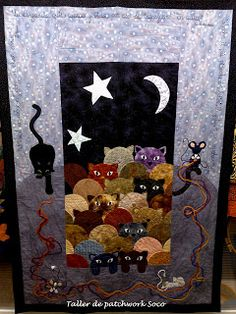 Cats Under Moon Light Quilt Blanket : Cats Under Moon Light Quilt Blanket Quilted Baby Blanket, Blanket Yarn, Tie Quilt, Shirt Quilt, Scrappy Quilts, Baby Quilts, Quilting, Clamshell Quilt, Cat Quilt Patterns