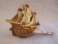 Antique Figural Celluloid Pirate Ship Sewing Tape Measure