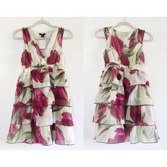 HOST PICK! H&M - Floral Layered Dress Pretty chiffon dress with large floral print and layered skirt. Has elastic waist and is fully lined. Its perfect for brunch, parties, weddings, and more! Size labeled 6 but fits sizes XS to S.  Offers welcome.  No trades.  Bundle for discount. H&M Dresses