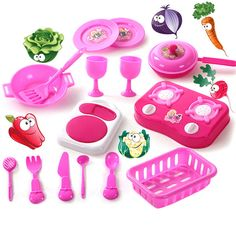 1 Set Child Kids Dinning Toy Kitchen Tableware Toy Set Kids Cooking Tool Play Cookware With Spoon Forks Glasses VBQ41 P20 0.15 //Price: $15.99 & FREE Shipping //     #idea #decor