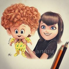 Mavis and Dennis from Hotel Transylvania 2! Drawn with colored pencils.  What was the last movie you saw?