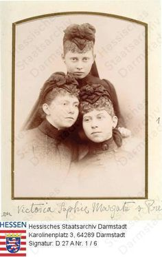 Sophie, Viktoria, and Margaret of Prussia in mourning for their father.