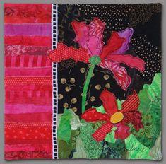 Image - pink flowers on black and green background Ellen Lindner