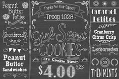 girl scout cookie booth printable chalkboard by ChalkAboutLife Girl Scout Samoas, Scout Mom, Daisy Girl Scouts, Girl Scout Leader, Girl Scout Troop, Boy Scouts, Girl Scout Cookies Price, Girl Scout Cookie Sales, Gs Cookies