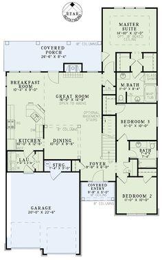 First Floor Plan of Country Craftsman European House Plan 82250