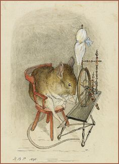 Beatrix Potter 'Mouse with a Spinning Wheel' 1890 | Helen Beatrix Potter (1866 – 1943) English author, illustrator, mycologist and conservationist  ink and watercolour Sotheby's archives ________  Slight restoration by plumleaves