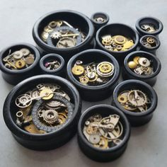 STEAMPUNK Style Black Double Flare Tunnels/ Plugs With Brass & Steel Cogs **Sizes 8mm / 10mm / 12mm / 14mm / 19mm/ 22mm/ 25mm/ 30mm**