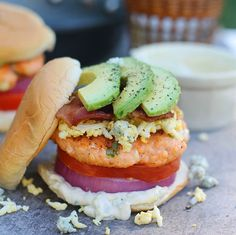 Cobb Salad Salmon Burgers with Blue Cheese Mayo - Cooking for Keeps