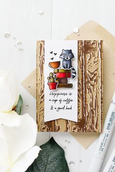 Hello everyone and thanks so much for stopping by to help celebrate new release products from Waffle Flower! Nina (company owner) always comes up with the most Flower Stamp, Flower Cards, Coffee Cup Crafts, Coffee Cards, Animal Cards, Card Making Inspiration, Fall Cards, Color Card, Drinking Tea