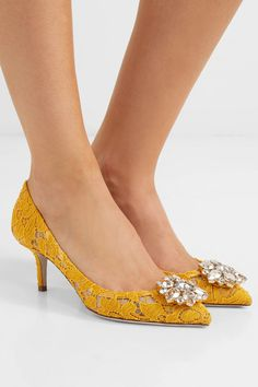 Dolce   Gabbana - Crystal-embellished corded lace pumps 6a5c5a4136e53